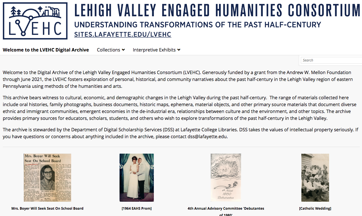 The landing page of a website featuring explanatory text and four historic images
