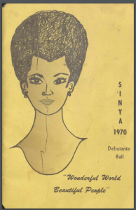 Event program featuring an image of a woman's face