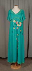 Teal dress with hand-painted flowers