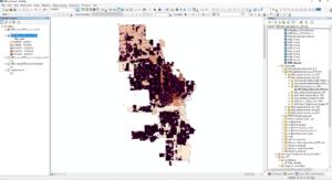Screenshot of an ArcGIS geospatial data visualization