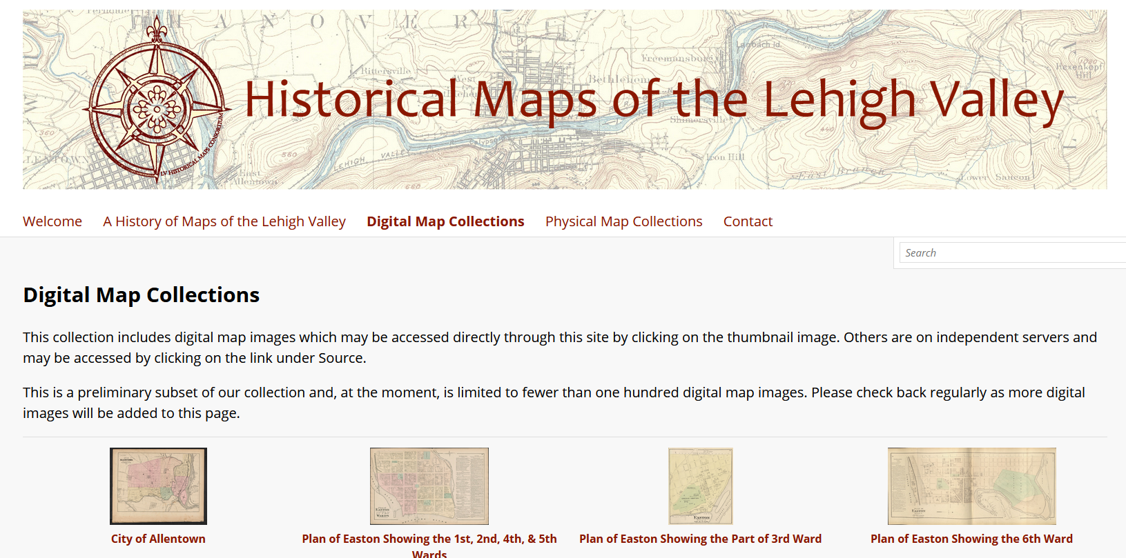 Website featuring historic map images