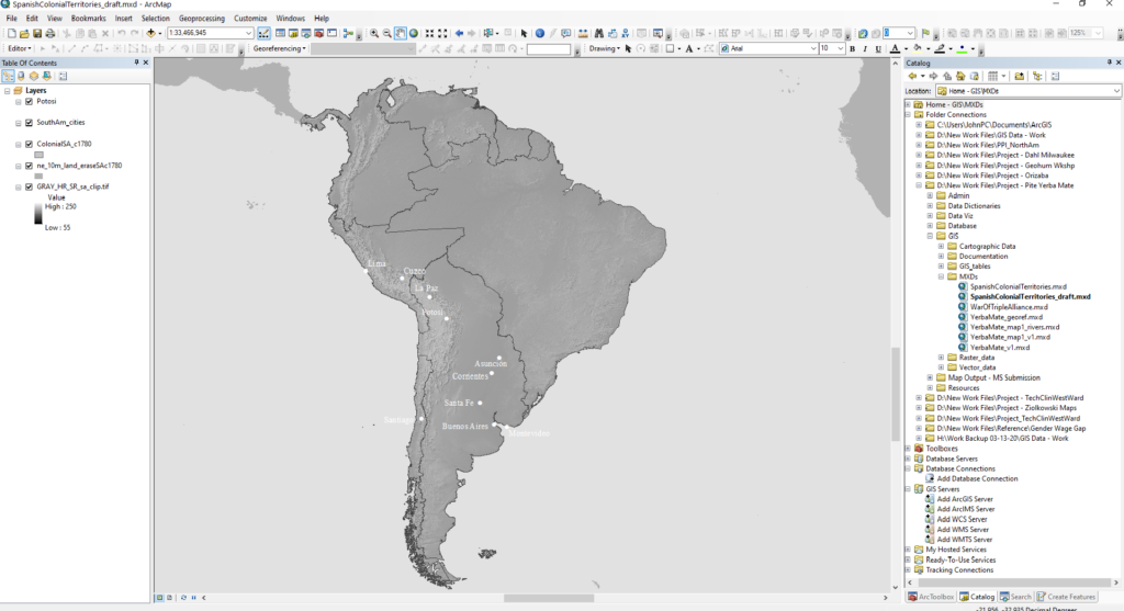 Greyscale image of a map of colonial South America