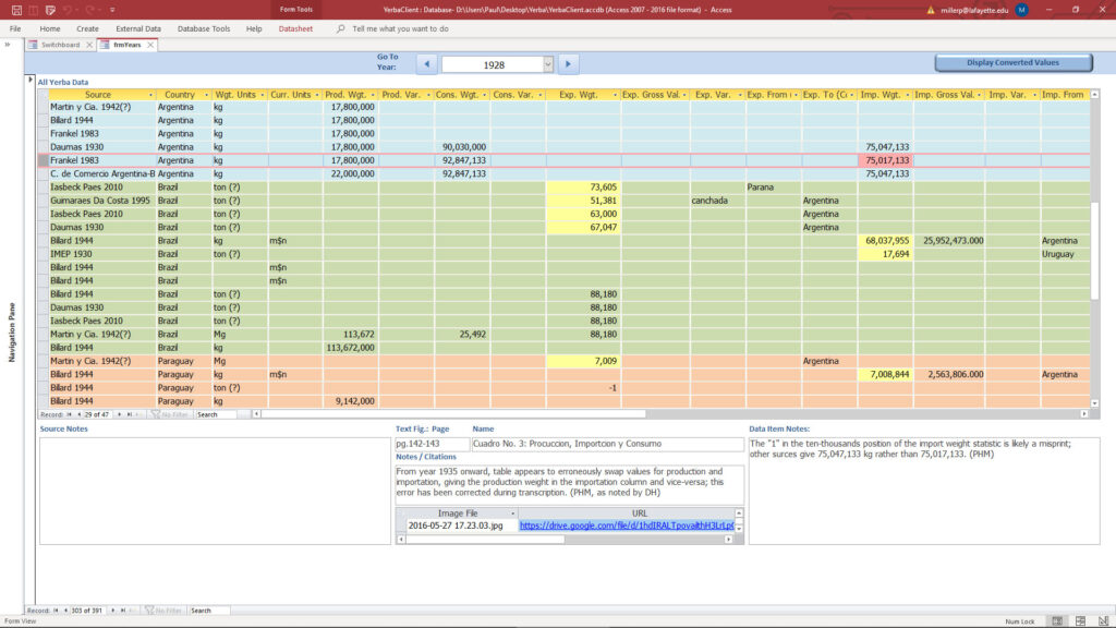 Screenshot of a color-coded online form